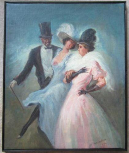 ==elegant gezelschap==gesigneerd en gedateerd 1914===