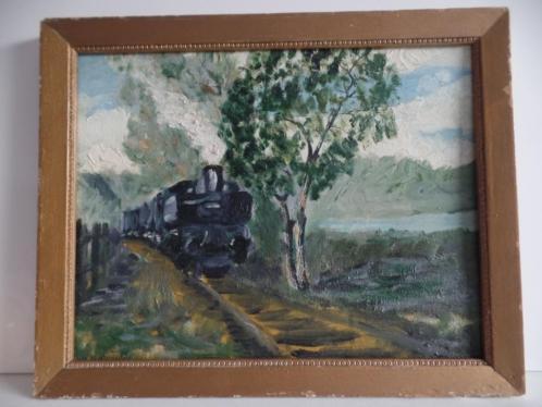 Te koop impressionistisch schilderij van stoomtrein
