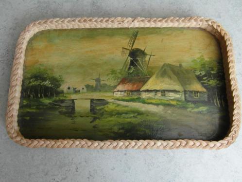 landschapje met molen geschilderd op dienblad, rond jaren 60