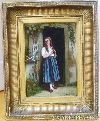 =J H Otterbeek 1830-1902==meisje in deuropening==19e eeuw==