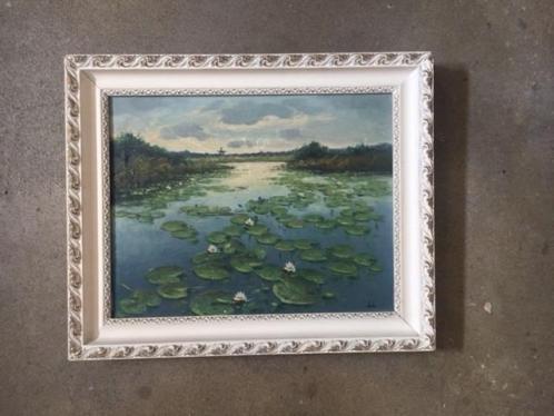 Schilderij waterlelies olieverf op doek, J.v.L