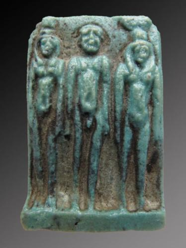 Egyptian faience triad amulet of Nephthys, Ptah and Isis
