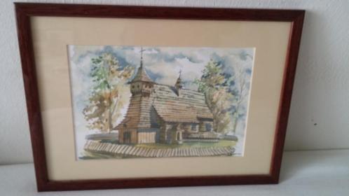 Mooie aquarel uit Oost-Europa, goed ingelijst en gesigneerd.