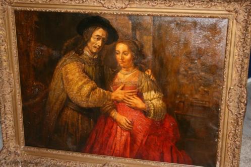 Groot Antiek schilderij Joodse Bruid Museaal