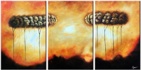 d380 olieverf schilderij bomen drie luik 3x 60x90cm
