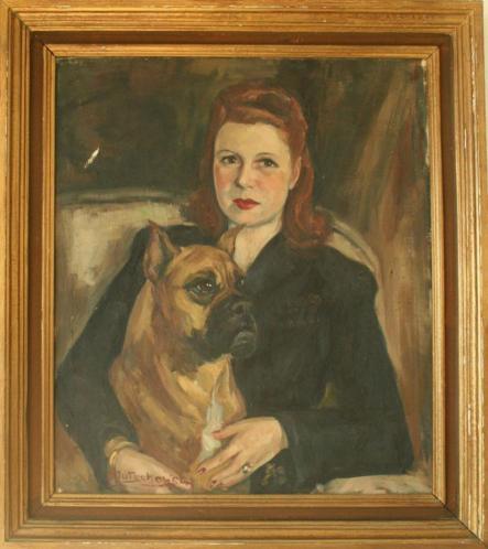 PORTRET van een vrouw met hond==30er jaren werk=gesigneerd =