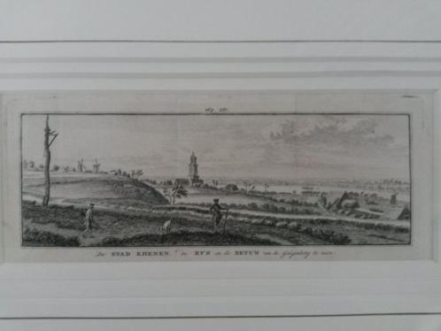 Kopergravure Rhenen, de Rijn de Betuw vanaf de Galgenberg