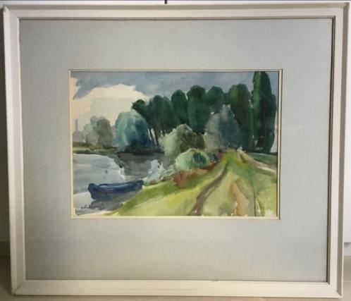 Schilderij langs de Waal bij Nijmegen, Joop Willems