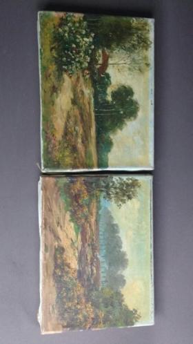Anton Dirckx, 2 schilderijen, landhuis op Veluwe