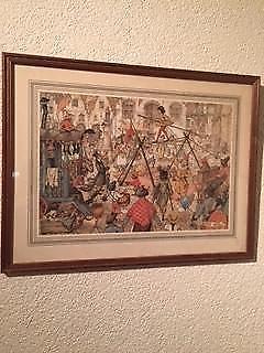 Anton Pieck serie van 3 stuks schilderijen.