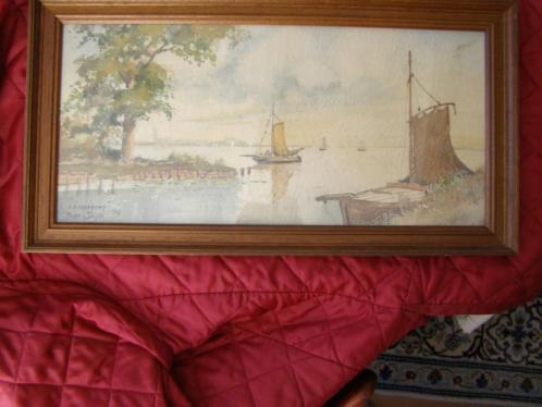 Mooie aquarel Loosdrecht'39 Bart van Dijck eiken lijst 29x55