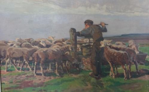 Irma van Eysinga: Boerenjongen met schapen op texel-1918