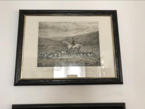 Schilderij klassiek jockey met paarden zwart wit 2stuks