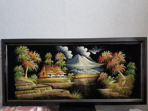 """Schilderij 'Indonesië """" 60x130 op mooie velourse kleed."""