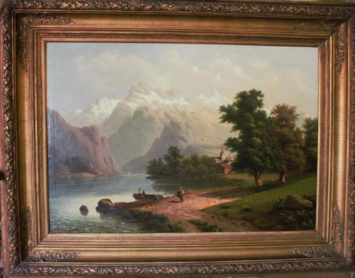doek, 65 x 94, Zwitsers landschap, meer en figuren, ges.1884