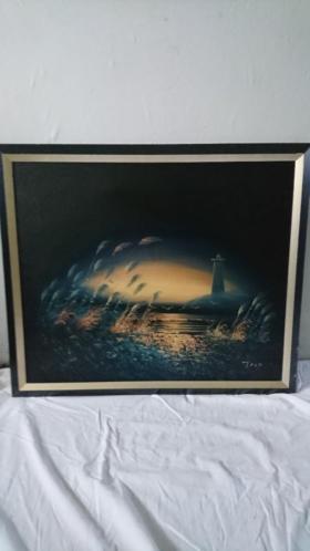 Schilderij olieverf op doek lijst omtrek 56 cm bij 67 cm