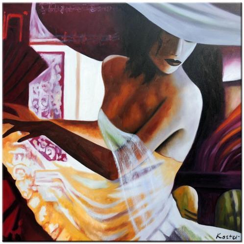 d723 Dame met Hoed olieverf schilderij 100x100cm
