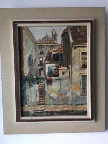 Oud schilderij F.W. Hartsuijker Utrecht olieverf Oudegracht