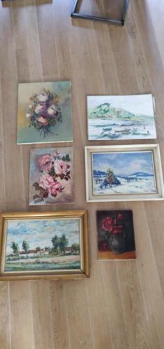 6x schilderij klassiek in 1 koop