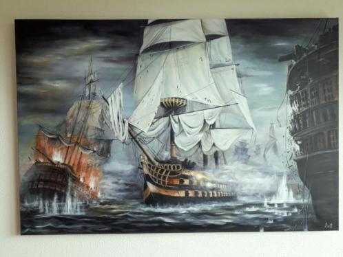 80x120cm. Groot schilderij Zeeslag / modern klassiek , nieuw