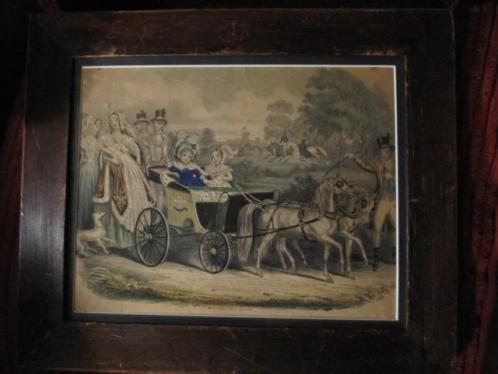 2 ingelijste ingekleurde litho,s 19 de eeuw
