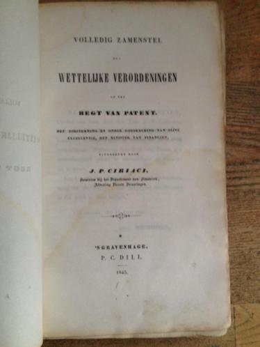 Ciriaci Verordeningen op het regt van patent 1843