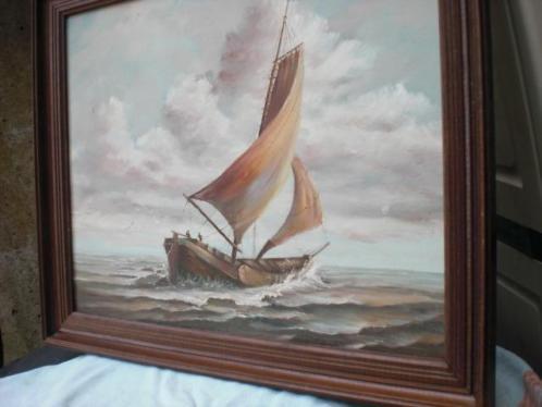 schilderij- Platbodem - skutsje- op IJselmeer ?schilderij