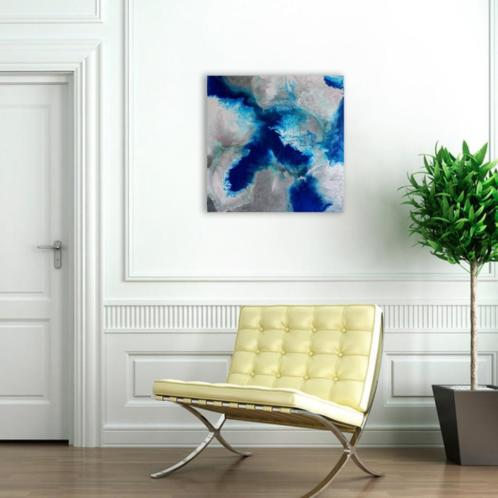 Origineel Abstract Schilderij, Acryl Blauw Zilver Schilderij