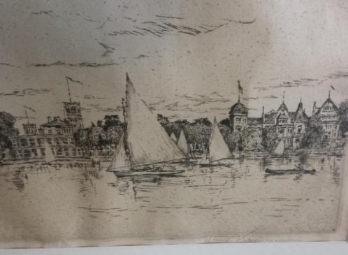J.H. Kaemmerer (1894-1979) Tek. 'Stadsgezicht met bootjes'
