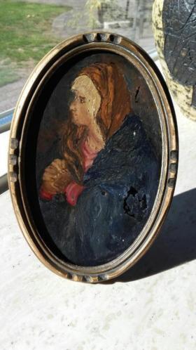 Antiek schilderijtje op glas