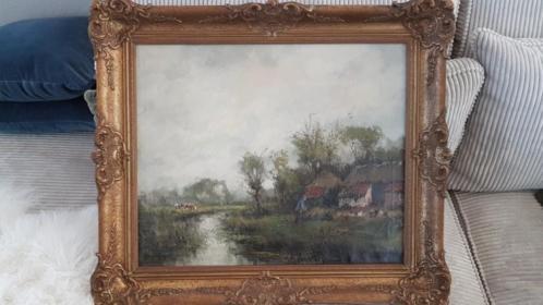 Zeer oud gesigneerd schilderij 75cm x 64 cm