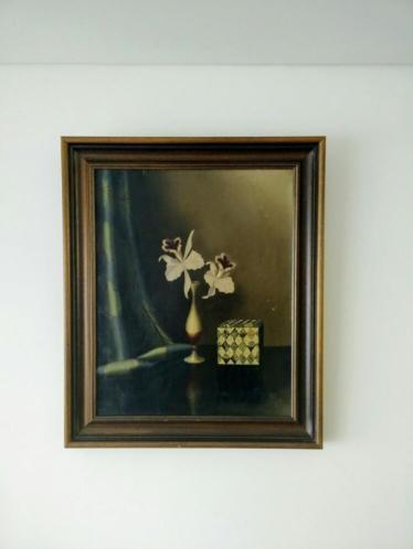 Olieverf schilderij Tilly Moes , bloemvoorstelling op tafel