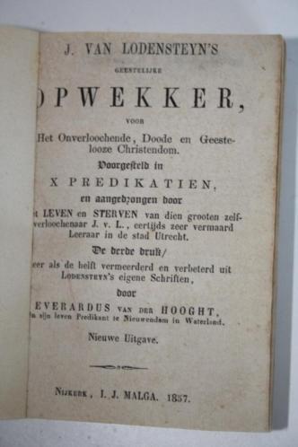 J. van Lodenstein - Geestelijke opwekker, 10 preken (1857)