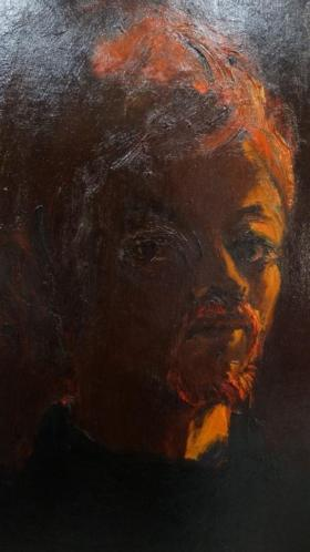 Hans Kitslaar (1944) zelfportret op doek.