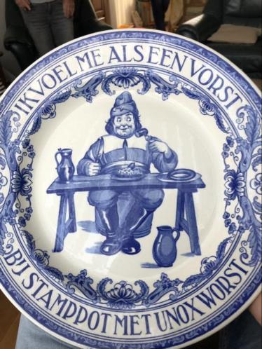 Origineel Unox bord Delfts blauw 34 cm uniek.