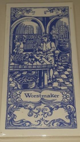 Vintage tegeltje van De Worstmaker
