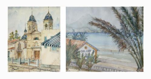 2 aquarellen - Toon Nagel - San Juan