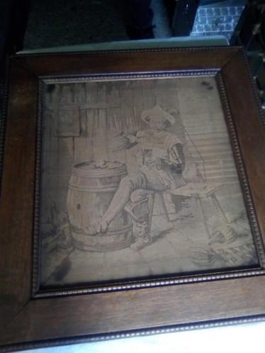 Antieke geborduurde schilderij