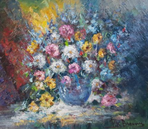 Peter Brouwer 1935 - 2010 - Groot bloemstilleven 60 x 70 cm