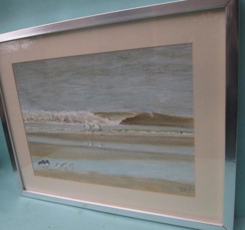 Prachtige Pastel Zee met Vogels - Christa Hoek 43 x 52,5