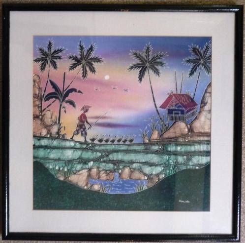 Indonesisch - jaren '90 - tempera achter glas - gelijst nr.1