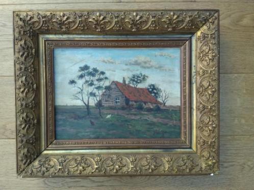Olieverf schilderij in oude lijst