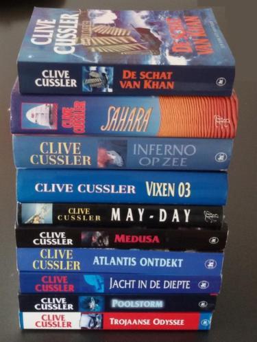 10 boeken van Clive Cussler - o.a. Sahara, Inferno op zee