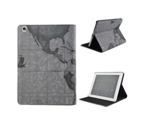 iPad Air 2 leren leer hoes hoesje case - Wereldkaart Grijs