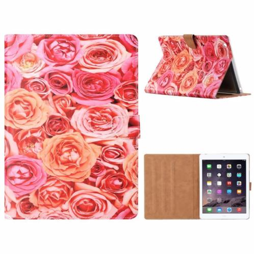 Ntech iPad 2 / 3 / 4 Roos Design Booktype Kunstleer Hoesje