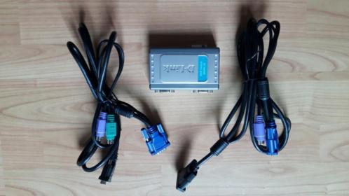 KVM Switch D-Link 1 toetsenbord muis scherm delen met 2 pc's