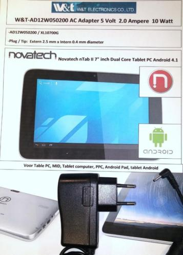 W&T AD12W050200 Adapter 5V 2A Novatech Tablet Lader 2.5mm