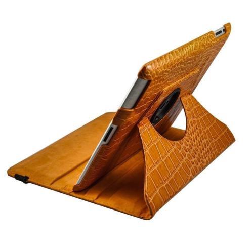 iPad Air 1 Krokodillen lederen hoes 360 graden leer - Oranje