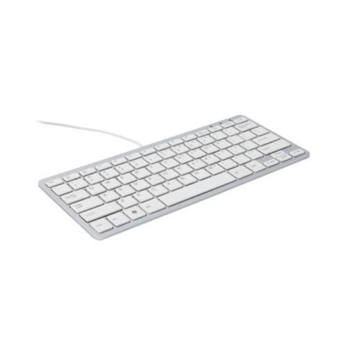 R-go compact toetsenbord, qwerty (es), wit, bedraad