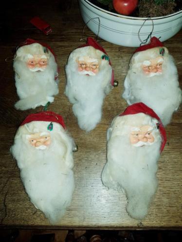 5 oude kerstman hangers